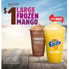 Bargain -  - Burger King - Large Frozen Coke/Mango $1 / Double Cheeseburgers $3 - Limited Time