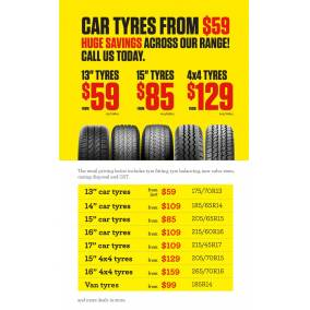 Bargain -  - From $59 on Tonys Tyres Sale @ Tonys Tyre Service