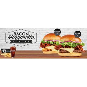 Bargain -  - From $9.90 on Chicken + Bacon Mozzarella Burger, Add $3 For A Small Combo @ Wendys