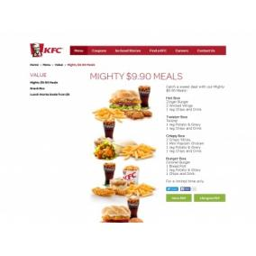 Bargain -  - Mighty Meals for only $9.90 @ KFC