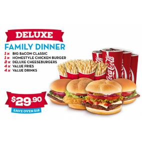 Bargain -  - $29.90 - Save Over $18 on Deluxe Family Dinner @ Wendys
