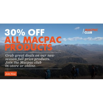 Bargain -  - 30% OFF Sale on All Macpac Products @ Macpac
