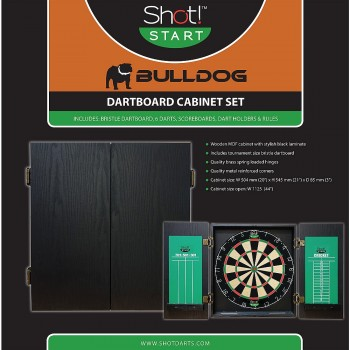 Bargain -  - $79.99 (Was $99.99) BULLDOG DARTBOARD AND WOODEN CABINET SET @ Rebel Sports