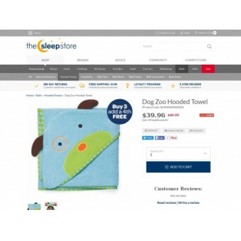 Bargain -  - Buy 3 & Get the 4th Free on Dog Zoo Hooded Towel @ The Sleep Store