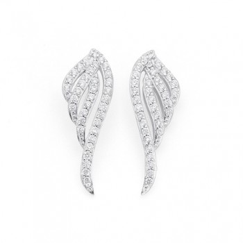 Bargain -  - NOW $69.00 (Normally $119.00) on Sterling Silver Cubic Zirconia Angel Wing Earrings @ Stewart Dawsons