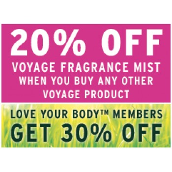 Bargain -  - SAVE 20% OFF on Voyage Body Mist @ The Body Shop