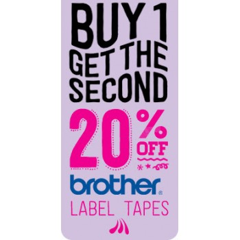 Bargain -  - Buy One, Get the 2nd 20% OFF on Brother Label tapes @ Paper Plus