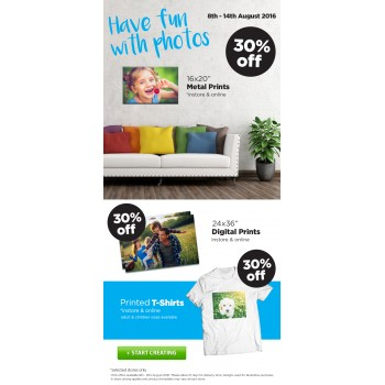 Bargain -  - 30% OFF Sale on Metal Prints, Digital Prints & Printed T-Shirts @ Camera House
