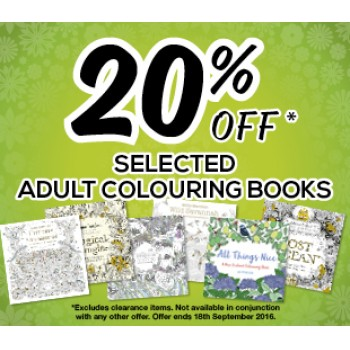 Bargain - 20% OFF - Selected Adult Colouring Books @ Whitcoulls