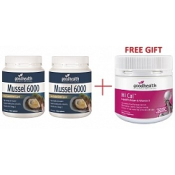 Bargain - $111.60 (was $205.30) - Good Health Mussel 6000 300`s Get 2 + 1 Hi Cal 150`s FREE - ONLINE ONLY