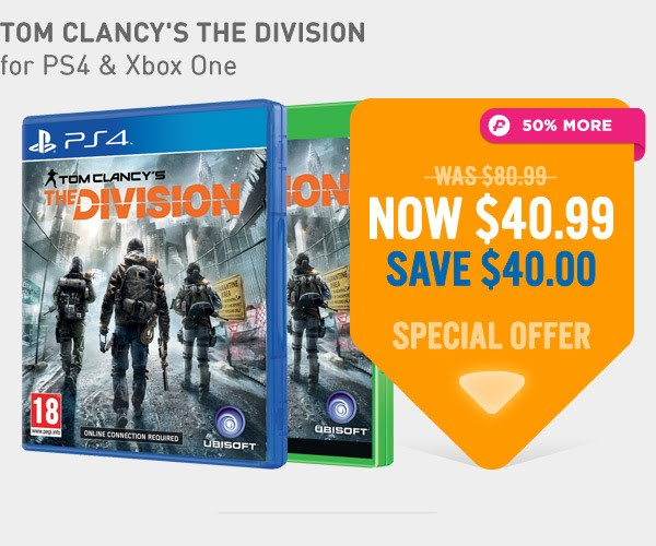 Bargain - $40.99 (save $40) - Toms Clancy`s The Division @ NZ Game Shop