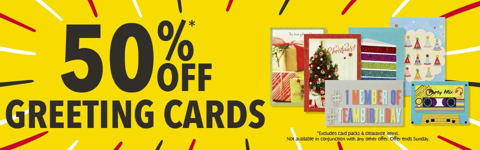 Bargain - 50% OFF - Greeting Cards @ Whitcoulls