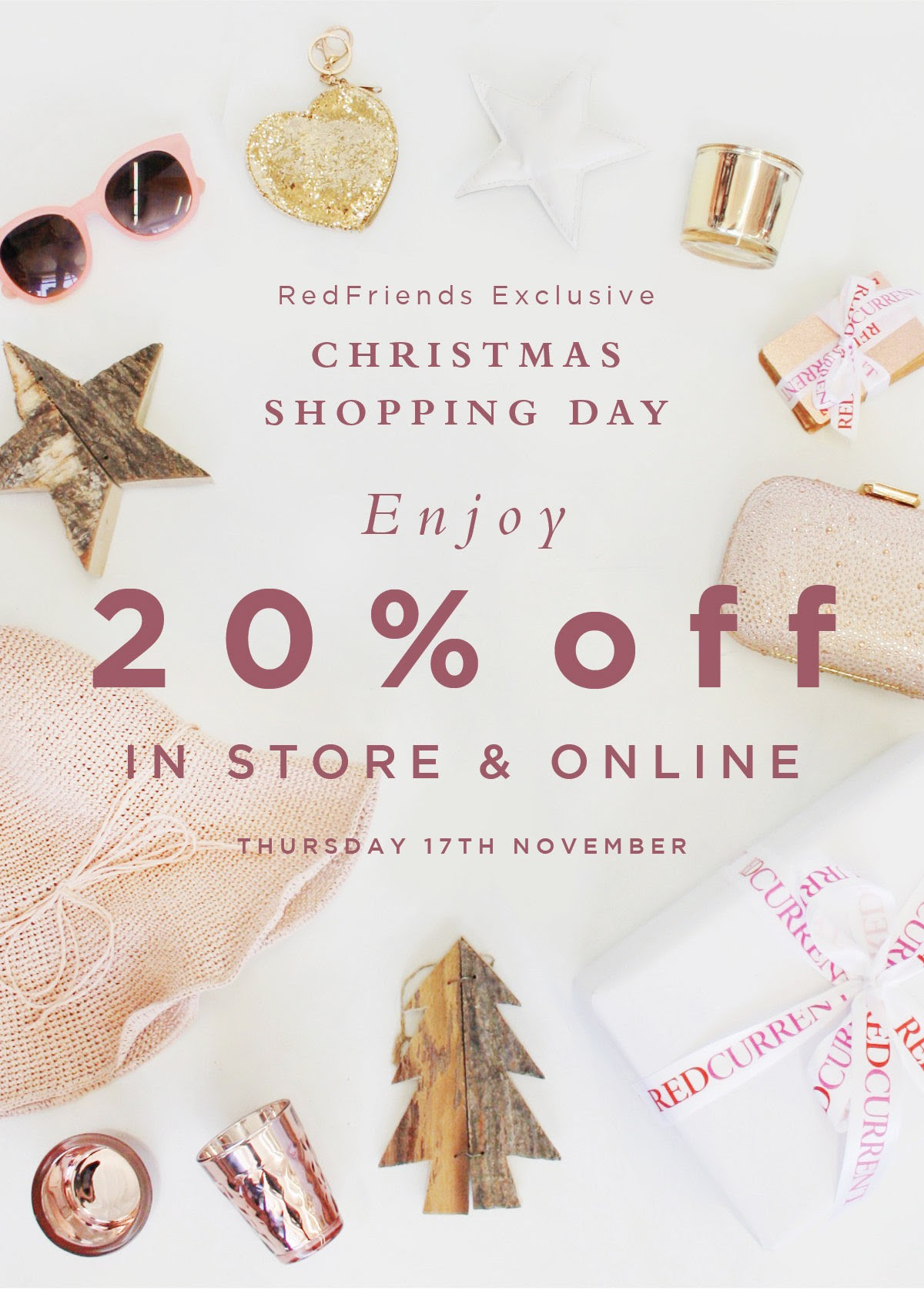 Bargain - 20% OFF - Christmas Shopping Day @ Red Current - Thursday Only