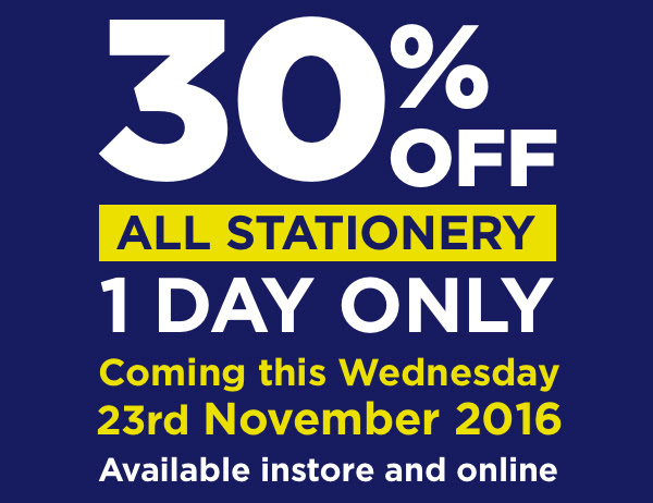 Bargain - 30% OFF - All Stationery - Wednesday Only @ Warehouse Stationery