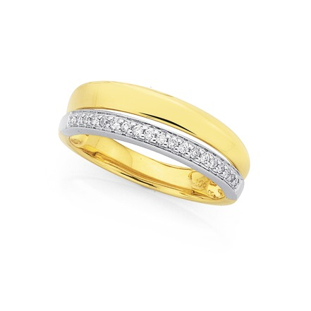 Bargain - $499 (was $799) - 9ct Two Tone, Diamond Ring Total Diamond Weight=.12ct | Stewart Dawsons
