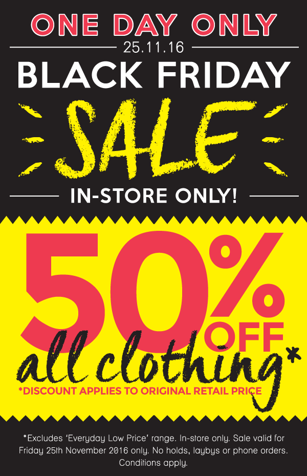 Bargain - 50% Off - All Clothing - Black Friday Sale @ The Baby Factory