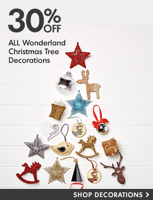 Bargain - 30% OFF - All Wonderland Christmas Tree Decorations @ The Warehouse