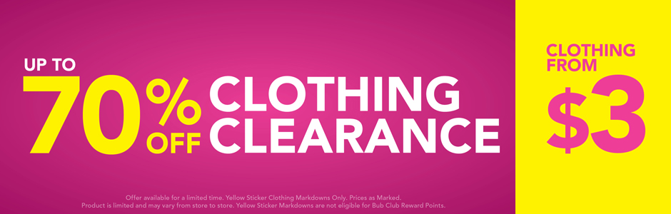 Bargain - Up to 70% Off - Clothing Clearance @ Babycity