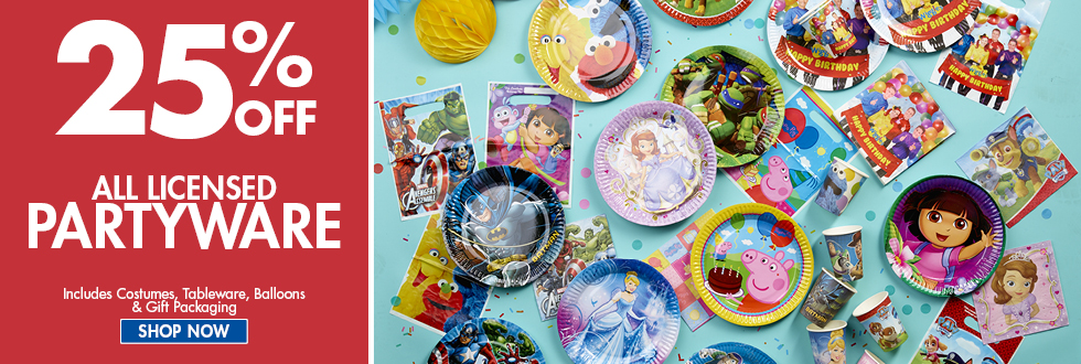Bargain - 25% OFF - All Licensed Partyware @ Spot Light Stores