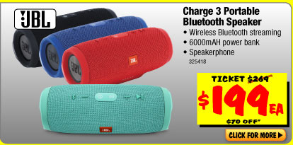Bargain - $199 (save $70) -  JBL Charge 3 Portable Bluetooth Speaker @ JB Hi-Fi