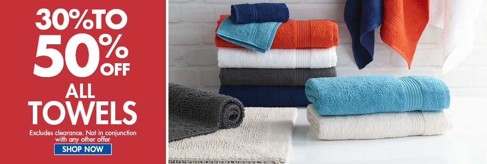 Bargain - 30-50% OFF - All Towels @ Spot Light Stores