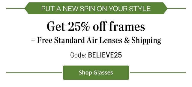 Bargain - 25% OFF - Frames + Free Standard Air Lenses & Shipping @ Clearly