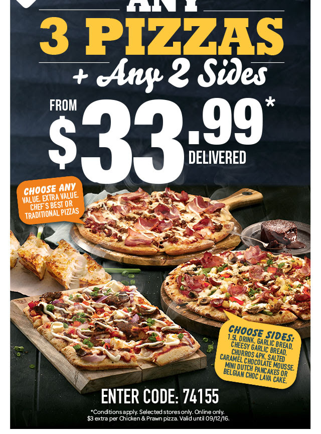 Bargain - from $33.99 - Any 3 Pizzas + Any 2 Sides @ Domino`s Pizza