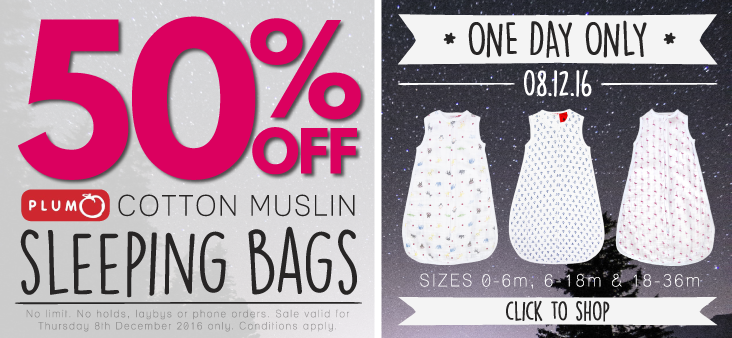 Bargain - 50% Off - Plum Cotton Muslin Sleeping Bags @ The Baby Factory