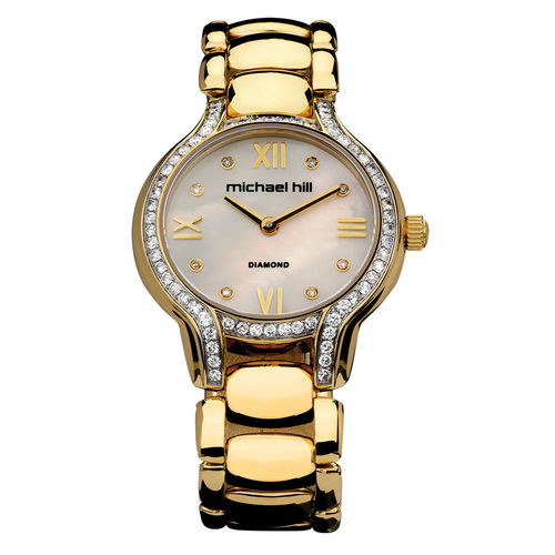 Bargain - $2,099 (was $2,999) - Ladies Watch with 1 Carat TW of Diamonds & Mother of Pearl in Gold Tone Stainless Steel @ Michael Hill