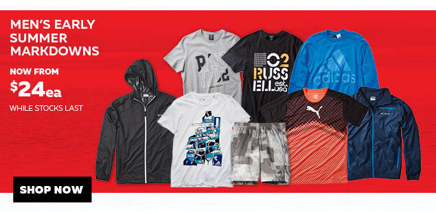 Bargain - from $24 - Men`s Early Summer Markdowns @ Rebel Sport