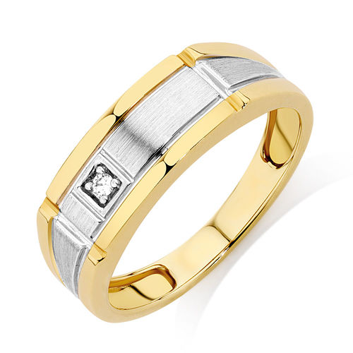 Bargain - $449 (was $699) - Men`s Ring with a Diamond in 10ct Yellow Gold @ Michael Hill