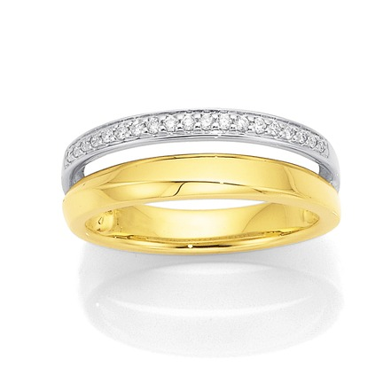Bargain - $499 (was $799) - 9ct Two Tone, Diamond Ring Total Diamond Weight=.12ct Extended | Stewart Dawsons
