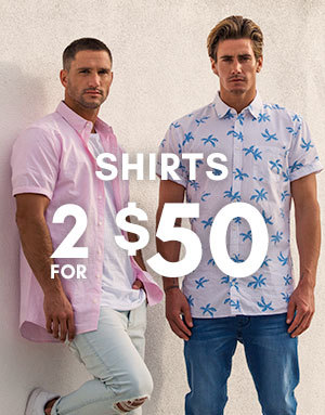 Bargain - 2 for $50 - Men`s Shirts @ Hallenstein Brothers