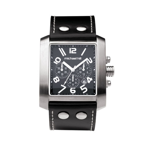 Bargain - $229 (was $449) - Men`s Chronograph Watch in Stainless Steel & Black Leather @ Michael Hill