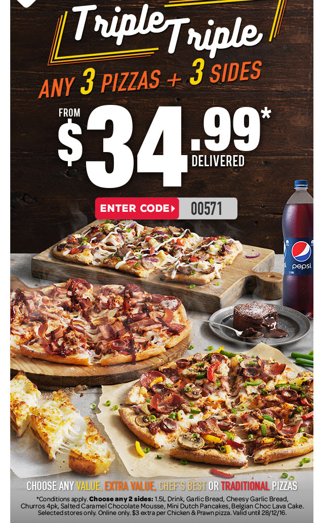Bargain - from $34.99 - Any 3 Pizzas + 3 Sides @ Domino`s Pizza