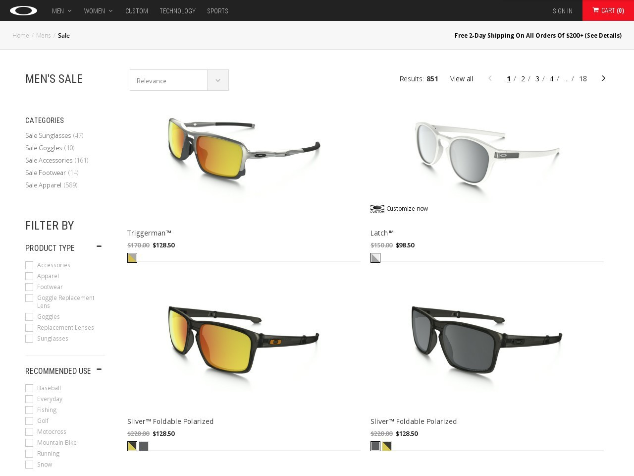 Bargain - 50% off Sale - Oakley Accessories and Apparel