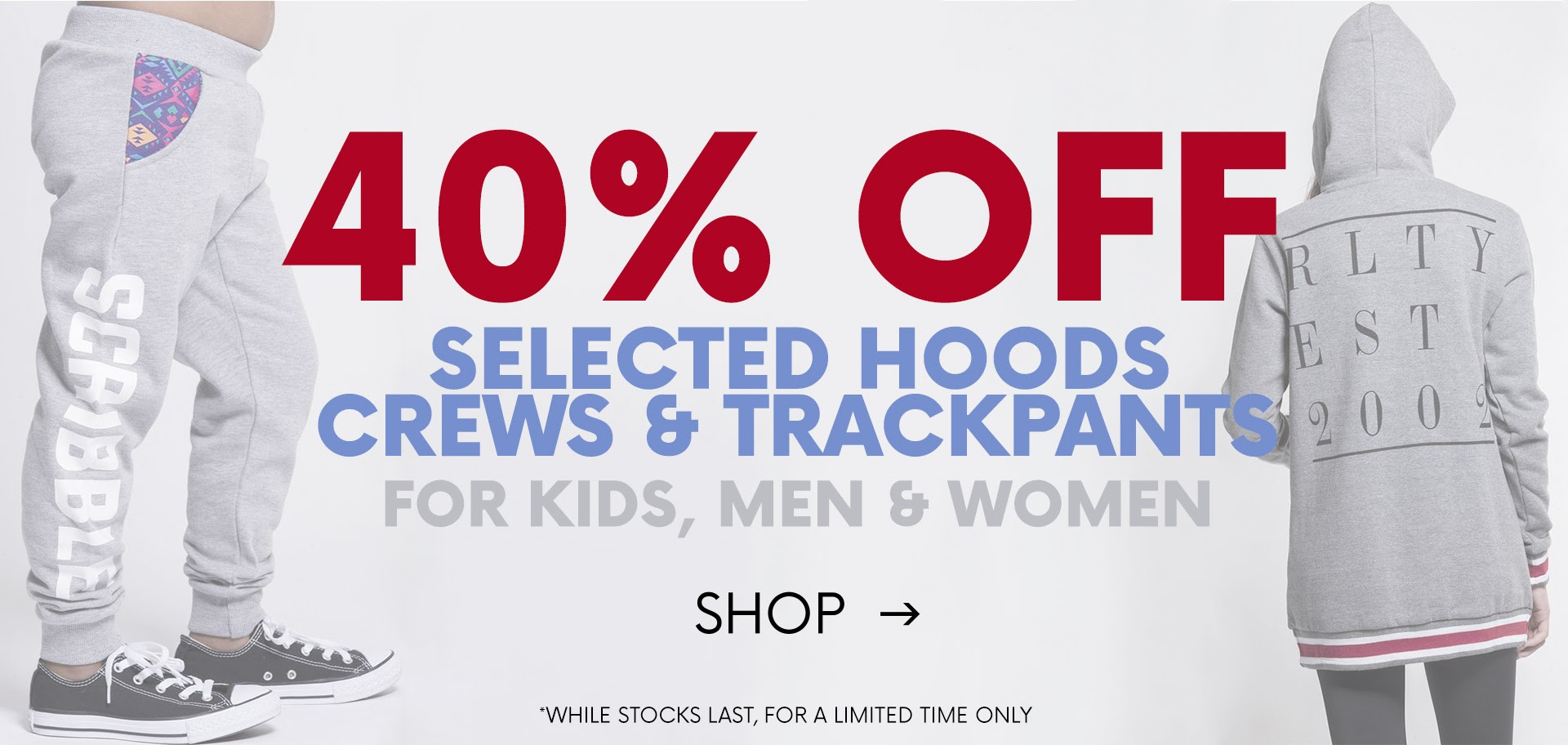 Bargain - 40% OFF - Selected Hoods, Crews & Trackpants @ Red Rat