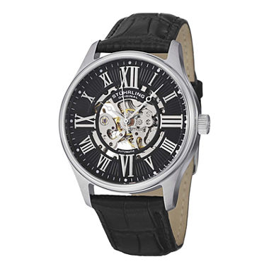 Bargain - $99 (76% OFF) - Stuhrling® Original Mens Black Leather Strap Skeleton Watch 7329.02 - JCPenney