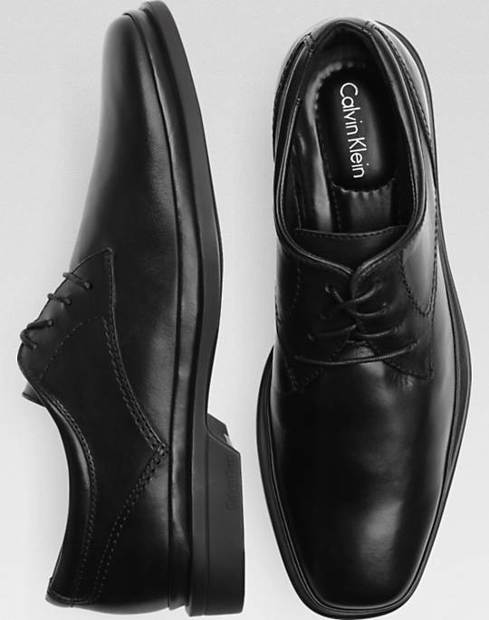Bargain - $62.99 (was $119.99) - Calvin Klein Buster Black Plain Toe Lace-Up Shoes - Customer Favorite Shoes | Men`s Wearhouse