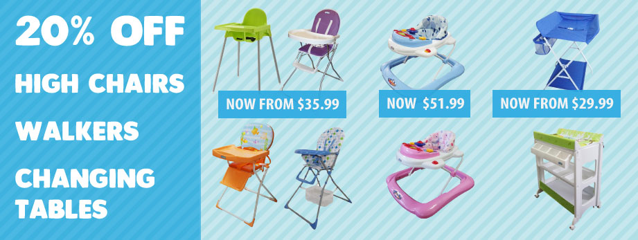 Bargain - 20% Off - High Chairs, Walkers & Changing Tables @ Baby Online