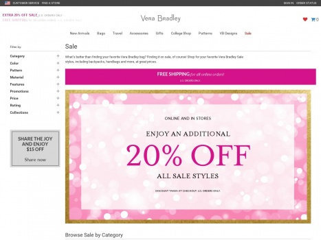 Bargain - 20% OFF - All Sale Styles @ Vera Bradley