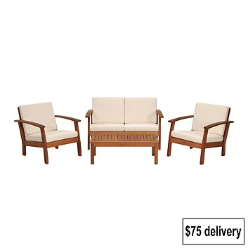 Bargain - $779.99 (40% OFF) - Coastal Classic Kingsbury 4 Piece Wooden Outdoor Furniture Setting @ Briscoes