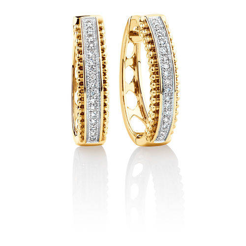 Bargain - $299 (was $899) - Huggie Earrings with Diamonds in 10ct Yellow Gold @ Michael Hill