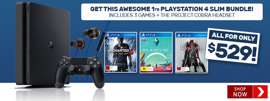 Bargain - Only $529 - 1TB PlayStation 4 Slim Console + 3 Games + Headset @ EB Games New Zealand