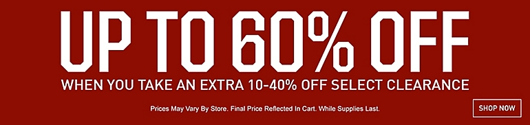 Bargain - Up to 60% OFF - When You Take an Extra 10-40% OFF on Selected Clearance @ Dick`s Sporting Goods