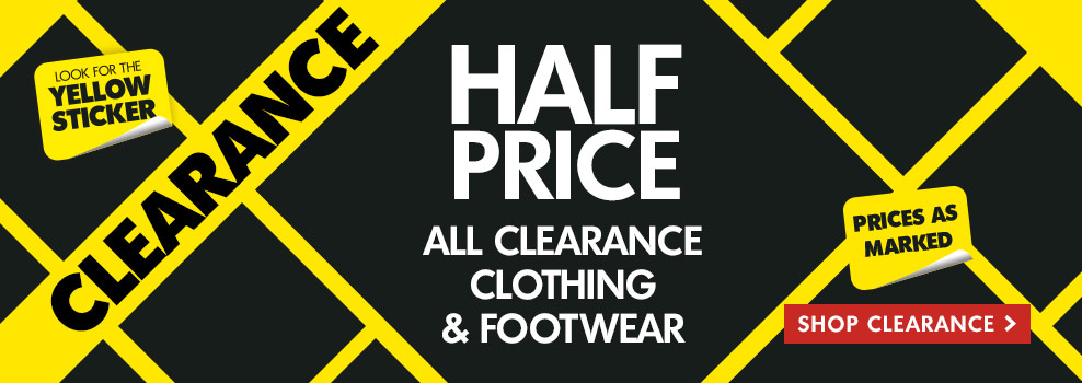 Bargain - 50% OFF - All Clearance Clothing & Footwear @ The Warehouse