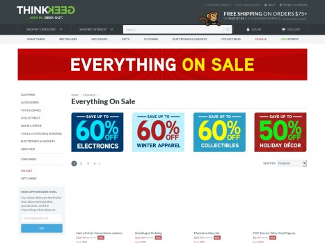 Bargain - Up to 60% OFF - Everything On Sale | Clearance | ThinkGeek