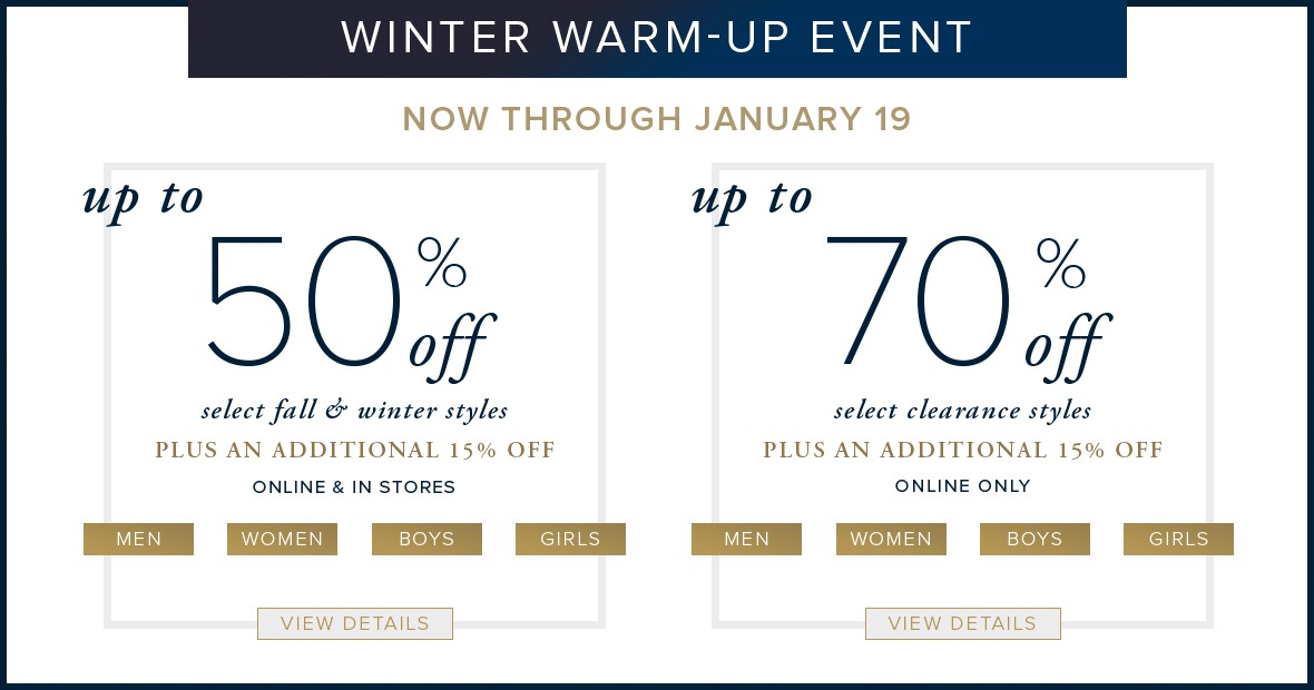 Bargain - Up to 70% OFF - Winter Warm-Up Event @ Brooks Brothers