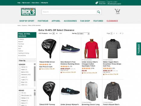 Bargain - Up to 75% OFF - When You Take Extra 10-40% OFF on Selected Clearance @ Dick`s Sporting Goods