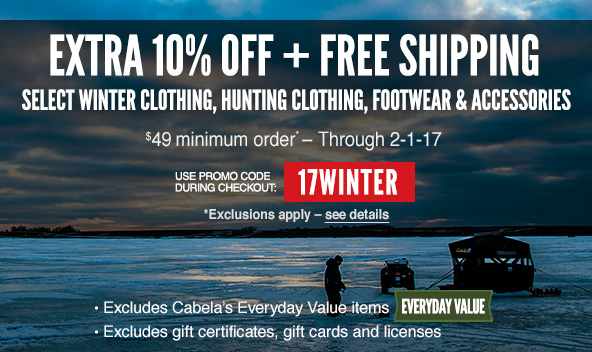 Bargain - Extra 10% OFF - When you Order $49 or more @ Cabelas